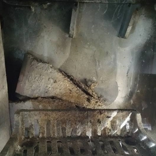 damaged fireplace panel